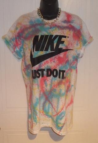 5949a518828 unisex customised NIKE grunge acid wash tie dye t shirt SM ...