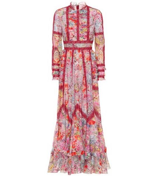 Valentino Jardin de Fleurs cotton-blend gown in red