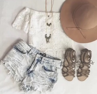 hat shirt top boho hat lace white boho festival shorts jewels shoes lookbook store