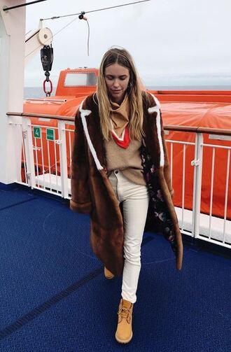coat fur sweater boots pants winter coat pernille teisbaek blogger instagram