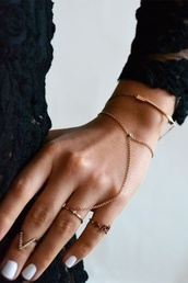 jewels,gold,hand chain,bag,nail polish,bracelets,chain,ring,gold chain,hand jewelry,sweater,jewelry,tumblr,ring chain,dainty,gold ring,hand,arm,fashion,bangle,hair accessory,dainty jewelry,delicate rings,arrow,chain ring bracelet,gold bracelet,delicate jewellery