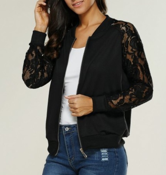 jacket girly black lace zip zip up jacket