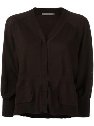 cardigan cropped women wool brown sweater