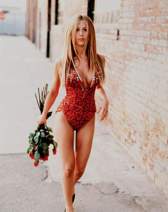 swimwear skinny/red red roses red swimwear blond hair