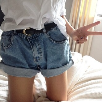 shorts demin loose blue hipster vintage grunge soft grunge denim denim shorts high waisted shorts
