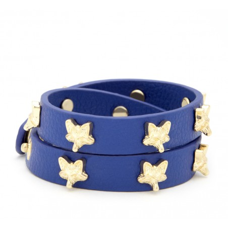Sole Society - Mini Fox Leather Bracelet - Navy