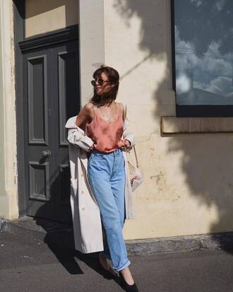 top tumblr camisole pink top coat trench coat denim jeans blue jeans mom jeans sunglasses