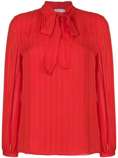 Tory Burch blouse pleated women silk red top