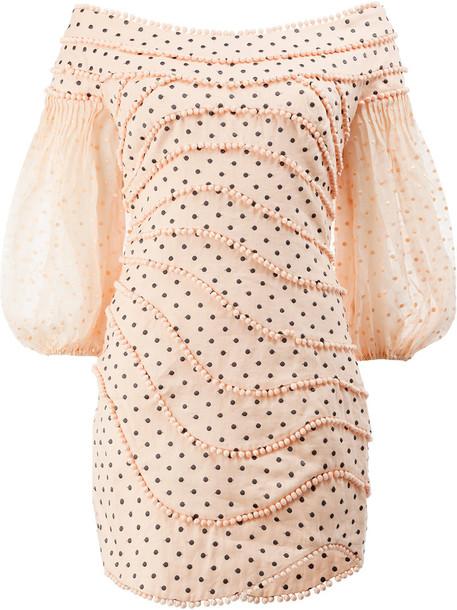 Zimmermann dress mini dress mini women polka dots cotton silk purple pink