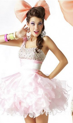 Ball Gown One-Shoulder Short Organza Prom Dress