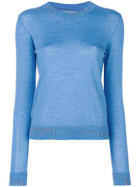 Prada - stripe-trimmed jumper - women - Silk/Wool - 44, Blue, Silk/Wool