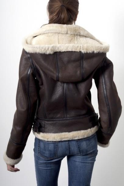 coat brown pleather leather jacket aviator jacket bombardier hoodie jacket warm winter coat