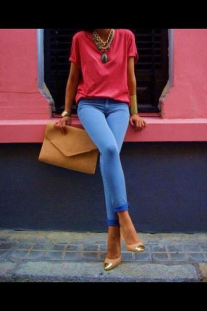 t-shirt jeans jewels bag