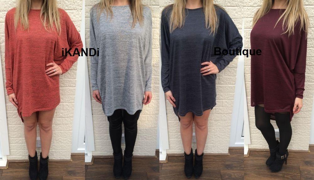 Ladies long loose oversized batwing top blouse tee t shirt tunic dress hilo hem