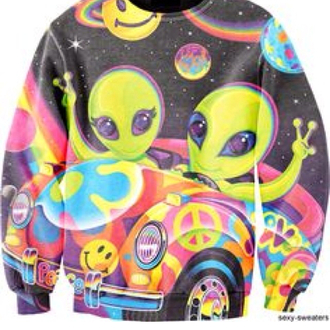sweater alien fantasy galaxy print colorful car happy peace universe