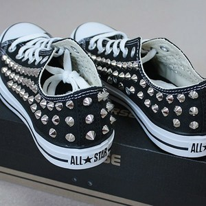 shoes, all star, converse, stud, studs, blue, love, studded