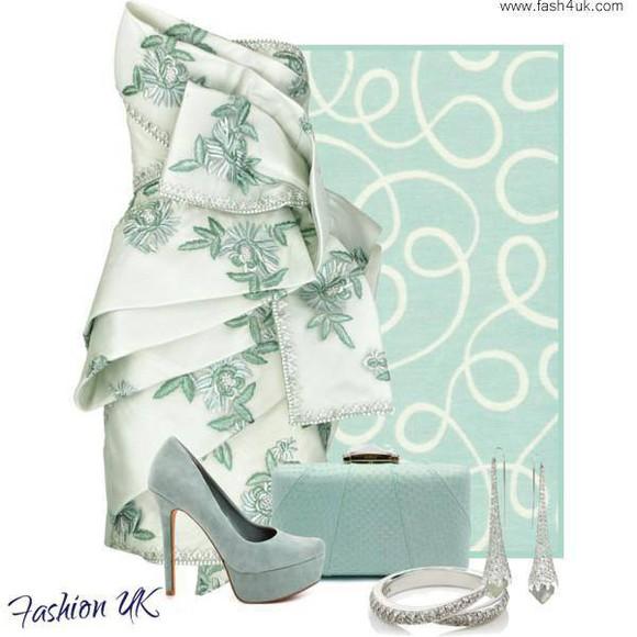 dress ruffles green dress leaf print white dress strapless dresses