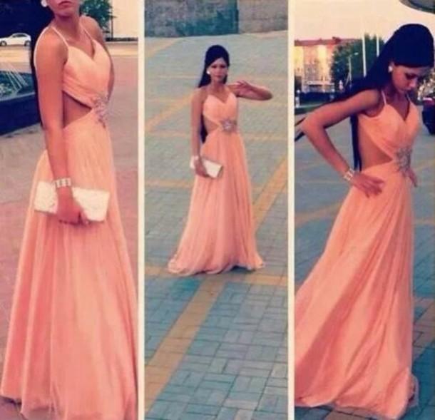 dress: peach dress, long prom dress, long dress, prom dress, peach