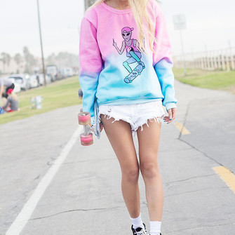 sweater style2bones pink middle finger shirt blue cute alien crewneck skateboard the middle