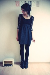 black,dentelle,short,dress
