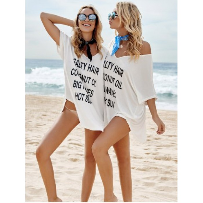 Sexy Plunging Neckline Letter Print 1/2 Sleeve Cover-Up For Women