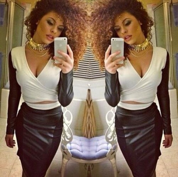 skirt white black leather skirt long skirt crop tops tank top