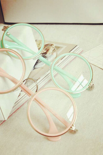sunglasses eyeglasses so cute kawaii pink mint pale pastel glasses