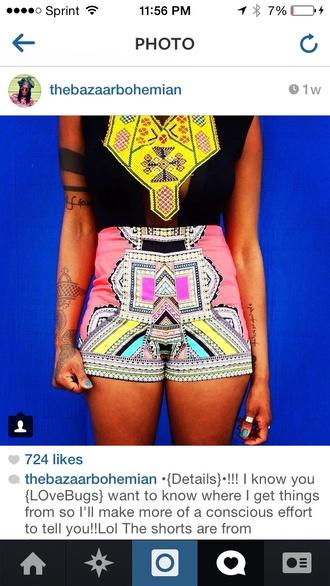 aztec print aztec print shorts tribal pattern tribal print shorts pink shorts high waist shorts aztec
