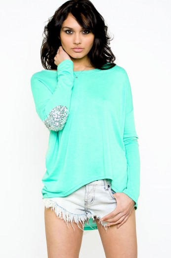 Sequin Patch Top- $38