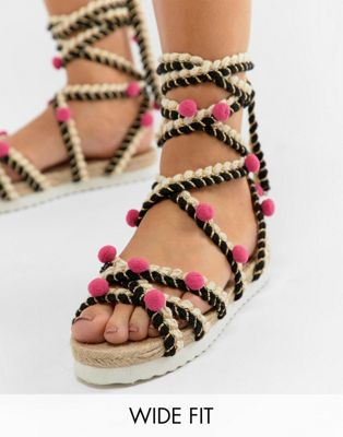 ASOS DESIGN Just Play Wide Fit Pom Sandals Espadrilles at asos.com