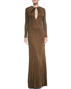 Collared satin gown, brown