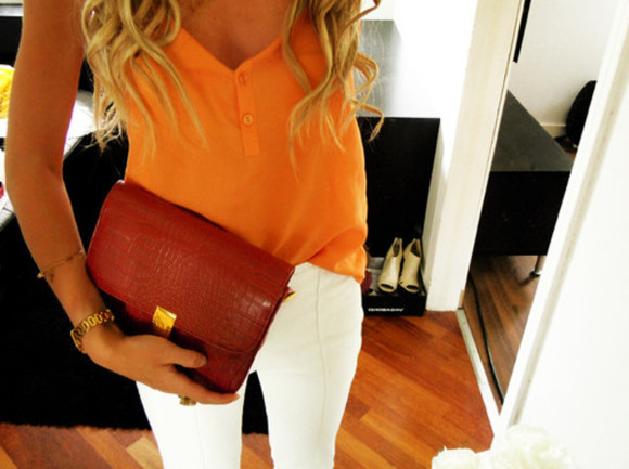 orange blouse blouse white pants luxury tank top orange, v-neck, buttons