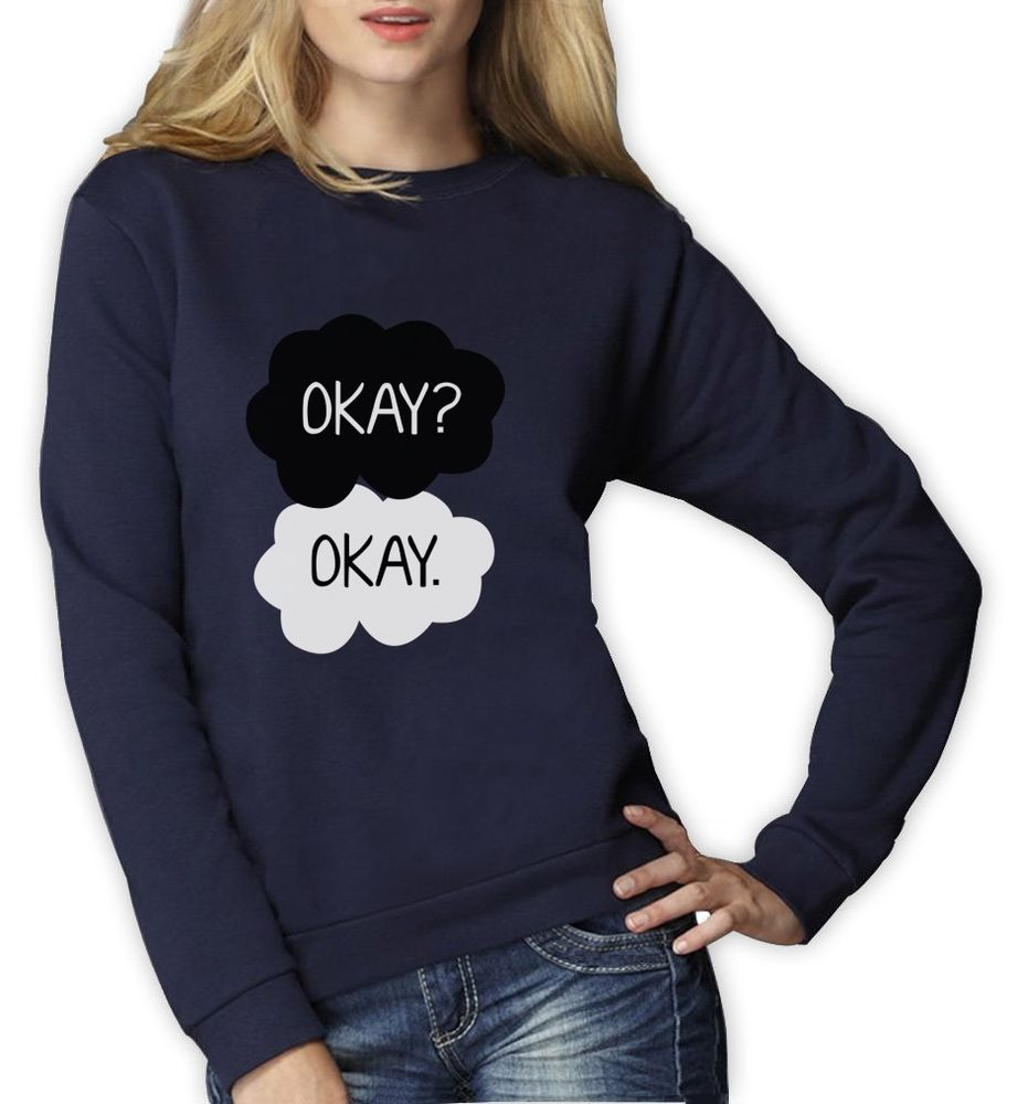 Okay Okay Women Sweatshirt Green Quote Jumper | eBay