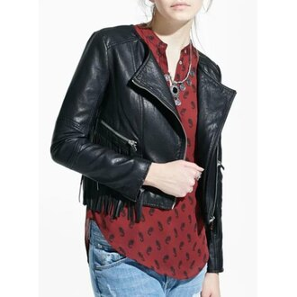 jacket black black jacket zip leather jacket leather faux leather biker jacket fringes