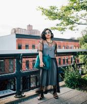 mimi & chichi blog,blogger,dress,bag,shoes,jewels,fall outfits,furry purse,furry bag,maxi dress,sandals