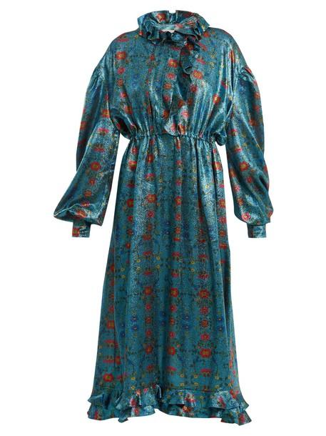 PREEN BY THORNTON BREGAZZI dress midi dress midi floral print silk blue