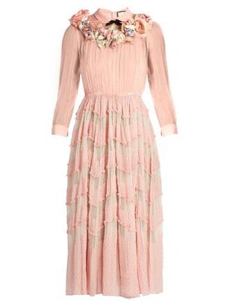 gown embellished floral silk pink dress
