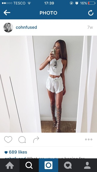 shoes sandals shorts top summer outfit white hot