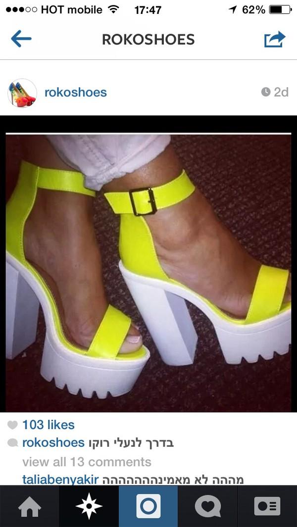 shoes platform sandals neon platform high heels