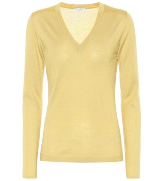 Brunello Cucinelli Silk and cashmere sweater in yellow