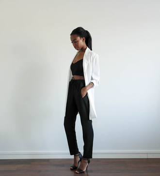 sylvie mus blogger white blazer black pants black crop top black sandals