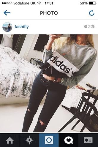 sweater adidas retro grey black white logo