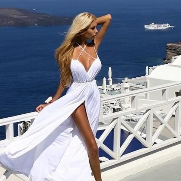 dress white straps formal prom white dress clothes maxi dress white long maxie white long dress beach dress