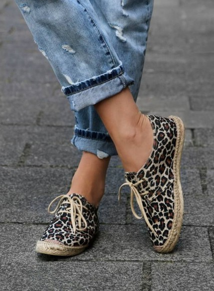 shoes espadrilles fashion shoes jeans sneakers leopard print