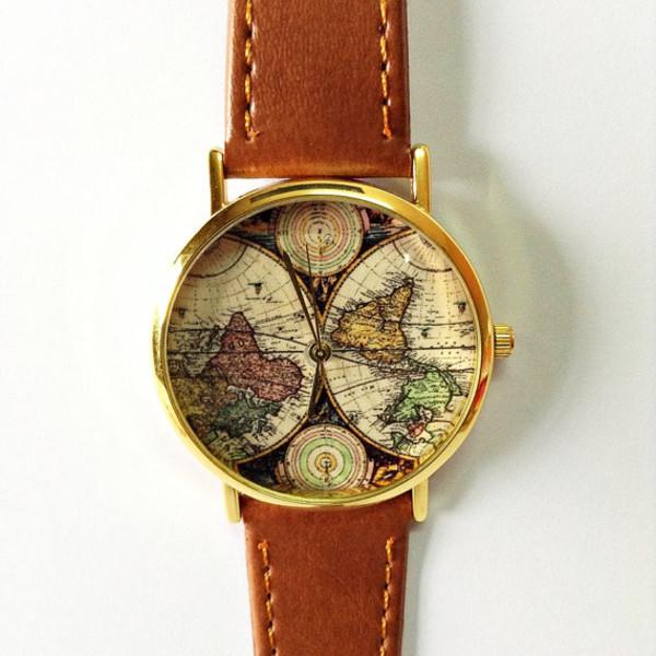 jewels map watch freeforme watchf watch style map print freeforme watch leather watch womens watch unisex