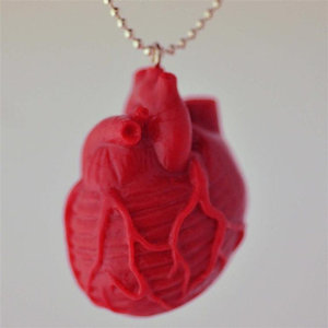 Blood red anatomical heart resin steampunk pendant resin funky gothic