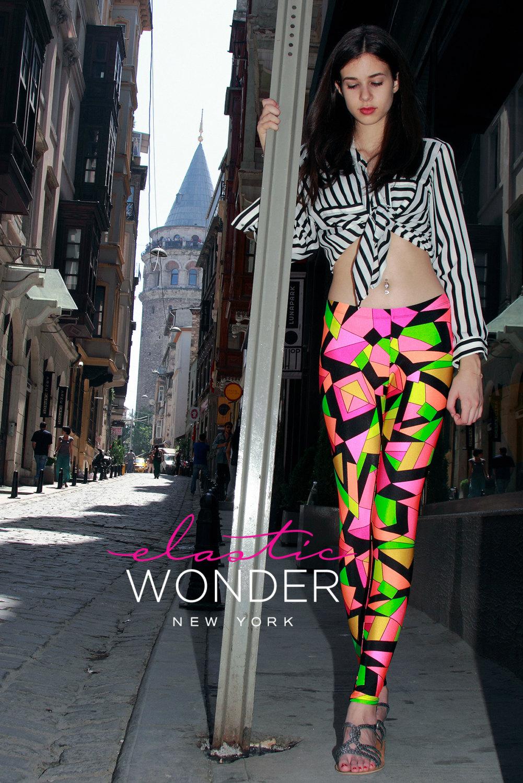 Kaleidoscope printed pucciesque spandex nylon leggings tights