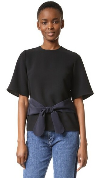 tie front navy black top