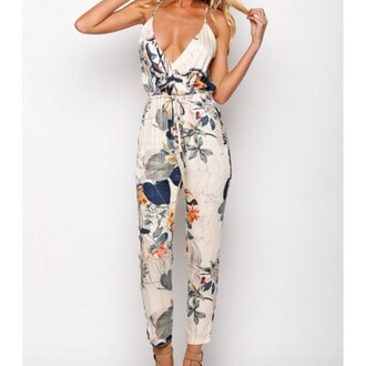 jumpsuit white floral sleeveless beige london austria chic chic muse that's chic summer straps low cut