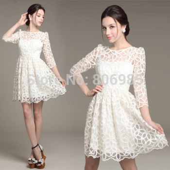 Aliexpress.com : buy 2015 brand new women white lace crochet dresses hollow out mini dress loose casual sexy short dress from reliable dress medieval suppliers on great seller 's store
